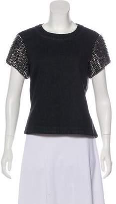 Gryphon Embellished Denim Short Sleeve Top