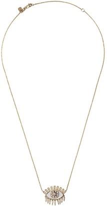 Sydney Evan 14kt yellow gold large kaleidoscope evil eye fringe diamond necklace
