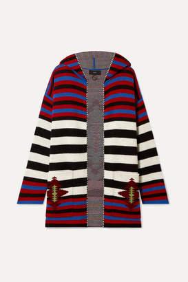 Alanui - Hooded Wool-jacquard Cardigan - Burgundy
