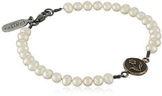 Pyrrha Rose Petite Talisman on Ivory Freshwater Pearl Strand Bracelet