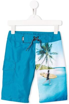 Trunks Molo Kids surfer print swim shorts
