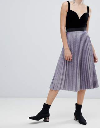 Bershka pleated metallic skirt