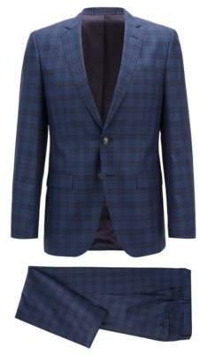 BOSS Hugo Slim-fit suit in a checked virgin-wool 36R Open Blue