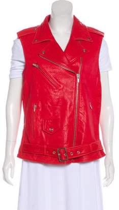 Veda Leather Zip-Up Vest