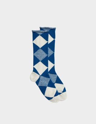 Burberry Army Check Socks in Cobalt Blue Wool