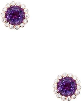 Rina Limor Fine Jewelry Women's 14K Rose Gold African Amethyst & Diamond Scalloped Stud Earrings
