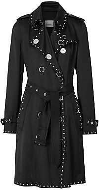 Burberry Women's Boscastle Studded Silk Satin Trench Coat