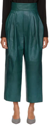 Marc Jacobs Green High-Waisted Leather Pants