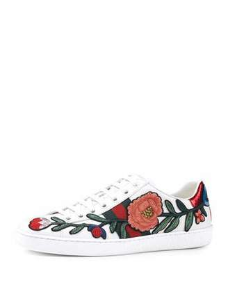 Gucci New Ace Floral-Embroidered Low-Top Sneaker, White/Multi $695 thestylecure.com
