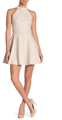 Love, Nickie Lew Hi-Neck Lace Skater Dress