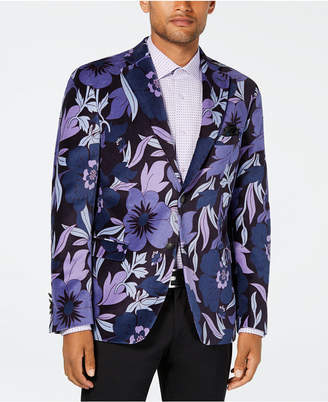 Tallia Men's Big & Tall Slim-Fit Purple/Blue Floral Sport Coat