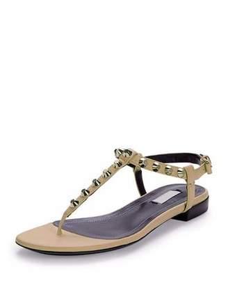 Balenciaga Studded Leather Thong Sandal, Powder (Poudre) $535 thestylecure.com