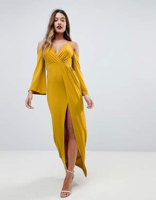 Asos DESIGN Slinky Deep Plunge Cold Shoulder Kimono Maxi Dress