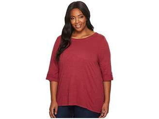 Jag Jeans Plus Size Wren Tee with Crochet Lace Back in Slub Jersey Women's T Shirt