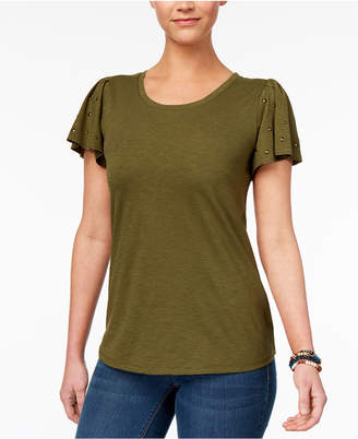 Style&Co. Style & Co Petite Studded-Sleeve T-Shirt, Created for Macy's