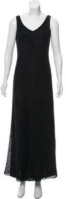 Carmen Marc Valvo Beaded Knit Dress