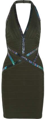 Herve Leger Sequin-embellished Halterneck Bandage Mini Dress - Black