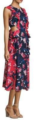 Tanya Taylor Aliyah Ruffle Silk Midi Dress