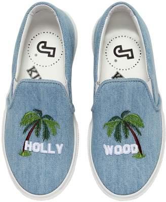 Joshua Sanders Hollywood Cotton Denim Slip-On Sneakers