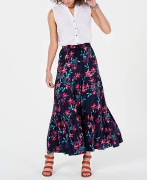 Style&Co. Style & Co Cotton Floral-Print Tiered Skirt, Created for Macy's