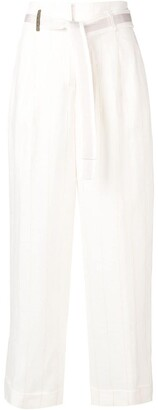 Peserico tie waist cropped trousers