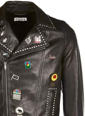Saint Laurent Stud And Pins Leather Jacket
