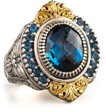 Konstantino Pave London Blue Topaz Ring