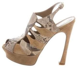 Saint Laurent Snakeskin-Trimmed Caged Sandals