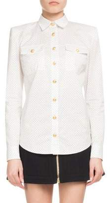 Balmain Dotted Poplin Long-Sleeve Button-Down Blouse