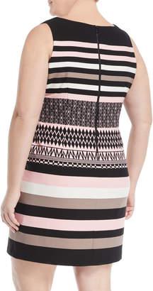 Taylor Plus Mixed-Pattern Sleeveless Scuba Dress, Plus Size