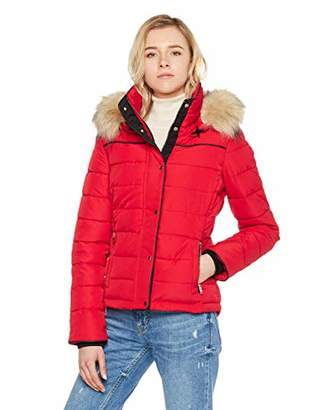 Royal Matrix Women's Short Coat Heavy Quilted Puffer Soft Fabric Outerwear with Removable Faux Fur (