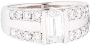 Ring Platinum Emerald & Round Brilliant Cut Diamond Band