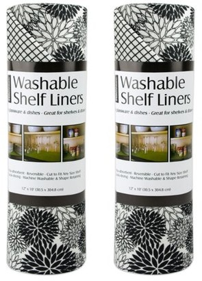 """Dahlia Dii DII Non Adhesive Cut to Fit Machine Washable Shelf Liner Paper For Cabinets, Kitchen Shelves, Drawers, Set of 2, 12 x 10"""" - Black"""