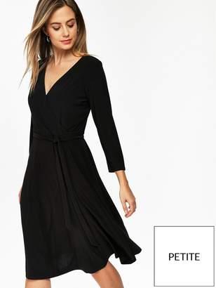 Wallis Petite Wrap Jersey Dress - Black