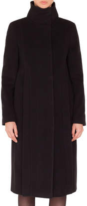 Akris Punto Stand-Collar Side Zip Seams Midi-Length Cashmere-Blend Coat