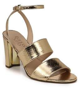 Franco Sarto Haneli Metallic Embossed Ankle-Strap Sandals