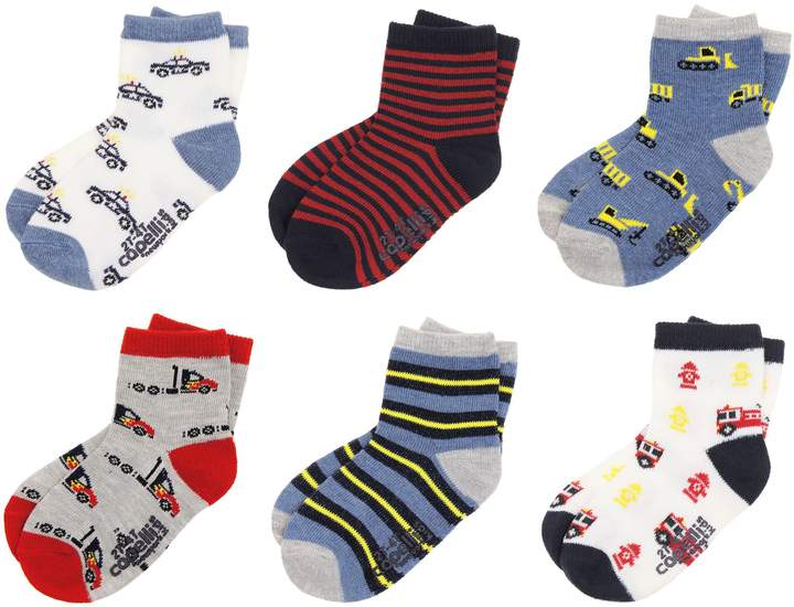 Capelli New York 6-Pack Transportation Crew Socks with Grippers
