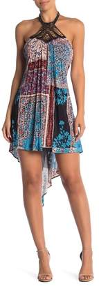 Sky Beaded Halter Print Hi-Lo Dress