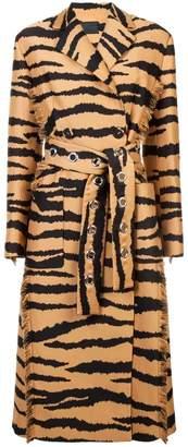 Proenza Schouler Tiger Jacquard Belted Coat