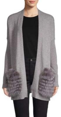 Saks Fifth Avenue For Fur Trimmed Longline Cashmere Cardigan