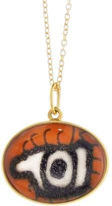 EYE M by Ileana Makri Hand Painted Orange and Black Evil Eye Necklace