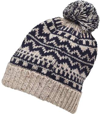 8ee615753b0 Onfire Mens Knitted Nepp Fairisle Hat With Pom-Pom Dark Navy Ecru