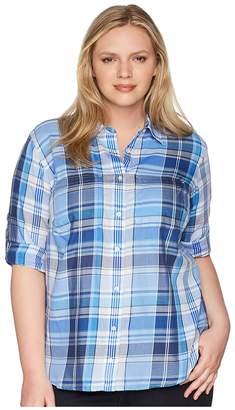 Lauren Ralph Lauren Plus Size Plaid Cotton Twill Shirt Women's Clothing
