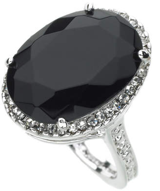 GUESS Ring, Silver-Tone Black Crystal