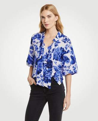 Ann Taylor Floral Toile Tie Neck Puff Sleeve Blouse