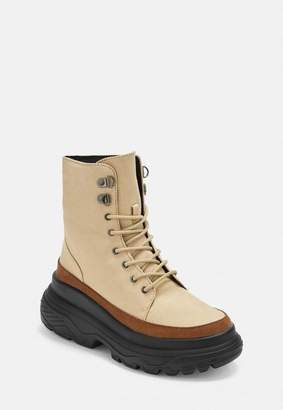 Missguided Tan Chunky Sole Canvas Hiking Boots