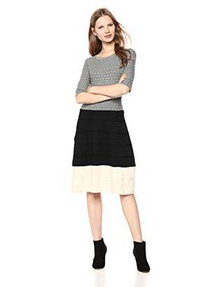 Gabby Skye Women's Elbow Sleeve Round Neck Sweater Fit and Flare Dress