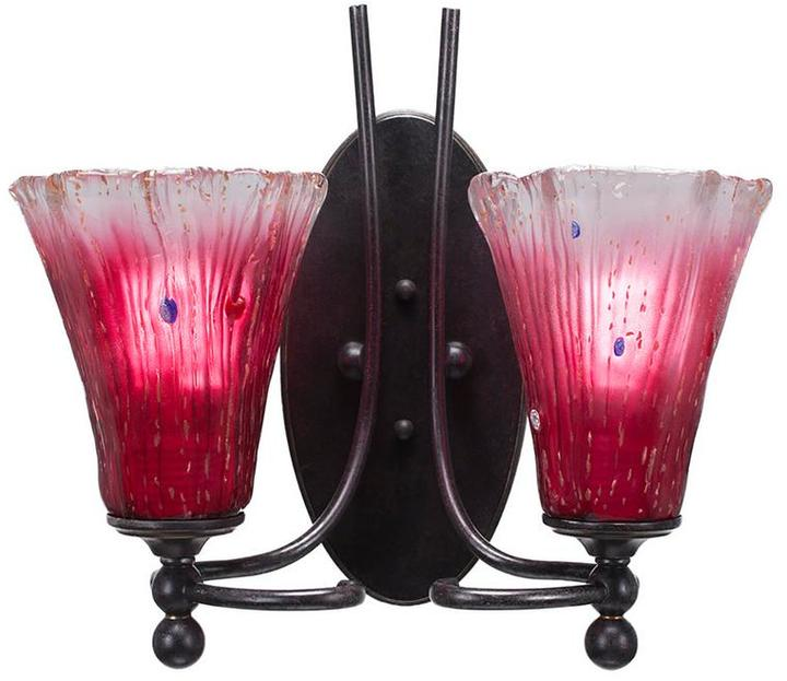 Cambridge Silversmiths Cambridge 2-Light Dark Granite Sconce with Fluted Raspberry Ribbed Glass