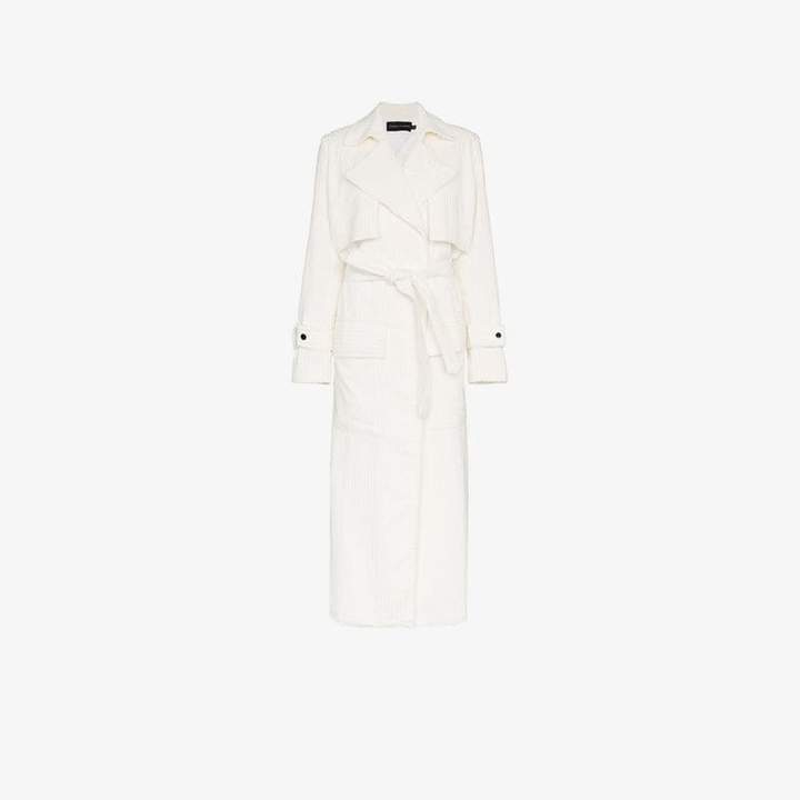 Michael Lo Sordo Jumbo Cord Cotton White Trench Coat