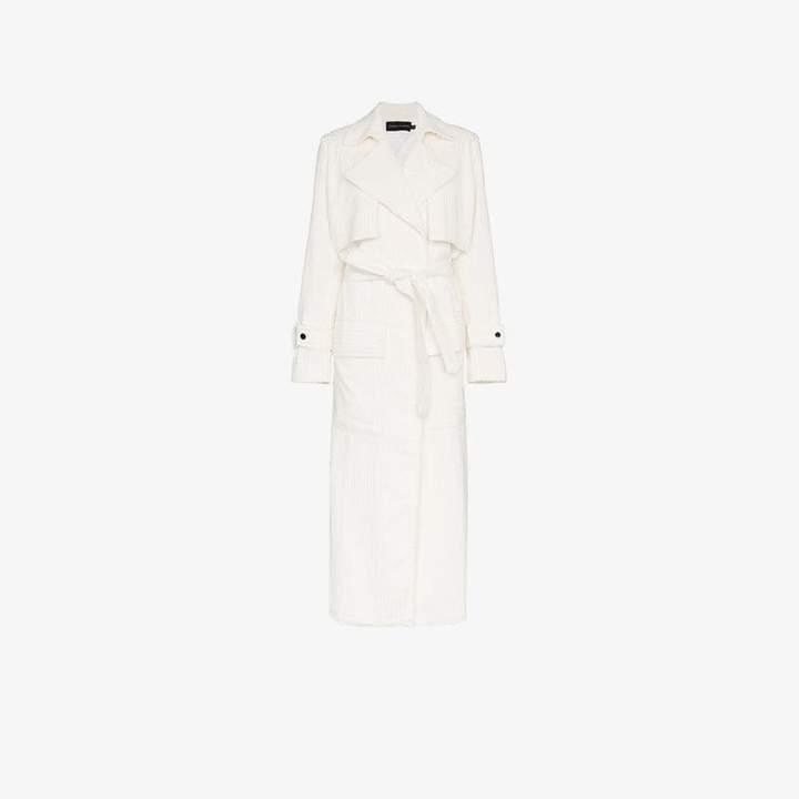 Michael Lo Sordo Jumbo Cord Cotton White Trench Coat